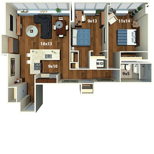 2 Bed, 1 Bath Floor Plan   Abstract   Park Towne Place Premier Apartment  Homes. Bedrooms